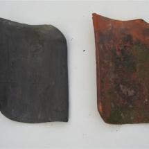 Oud Hollands - Handvorm (blauw gesmoord en rood, middendaks, ca. 35cm lang)